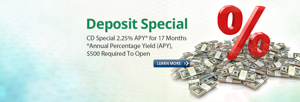 Slide - Deposit Special 2.25% 17 months w learn more button