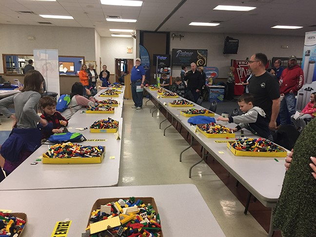 Kids at the lego competition at the Mercer County Builders Home Show