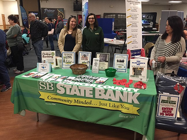 Jessica and Billene pictured at the Mercer County State Bank table display at the Mercer County Builders Homeshow