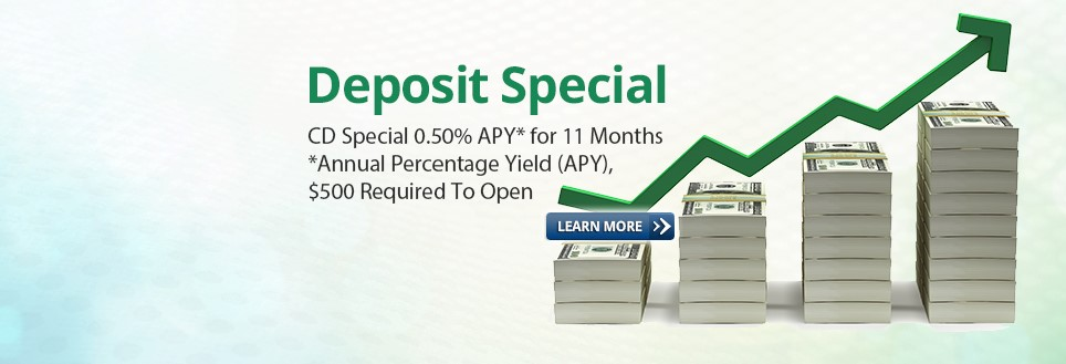 Slide - Deposit Special .50% 11 months w learn more button
